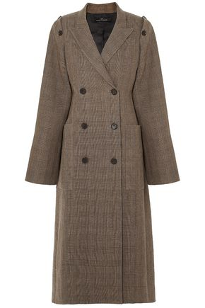 ROKH Convertible double-breasted checked silk-tweed coat