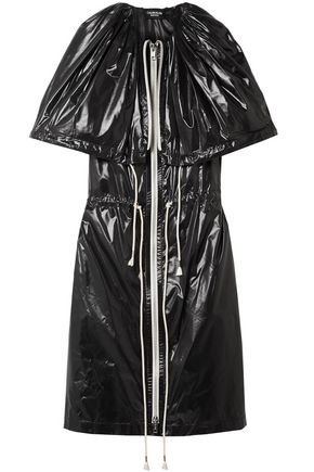 CALVIN KLEIN 205W39NYC Cape-effect gathered coated-shell dress