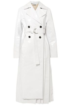 JIL SANDER Pleated coated cotton-blend trench coat