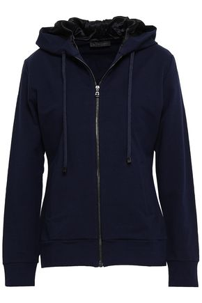 VERSACE French stretch-cotton terry hooded jacket