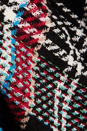 OSCAR DE LA RENTA Frayed checked cotton-blend tweed jacket