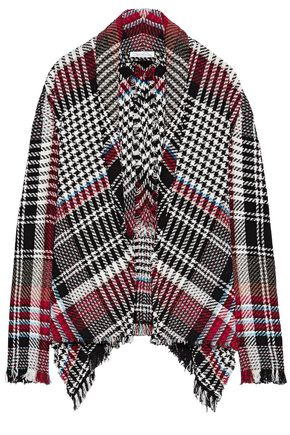 OSCAR DE LA RENTA Frayed checked cotton-blend tweed jacket