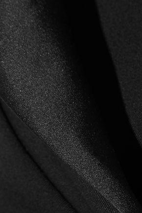 OSCAR DE LA RENTA Asymmetric satin-trimmed wool-blend jacket