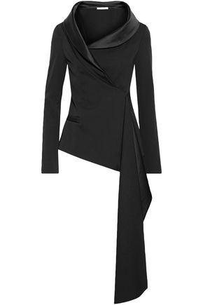 OSCAR DE LA RENTA Asymmetric satin-trimmed wool-blend jacket