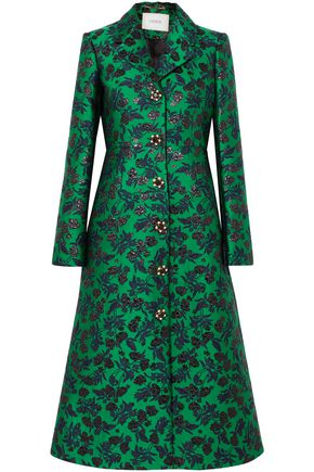 ERDEM Dominique embellished metallic jacquard coat