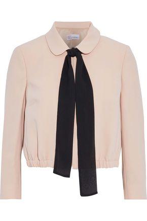 REDValentino Pussy-bow silk chiffon-trimmed crepe jacket