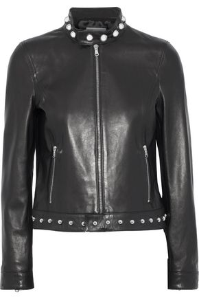 REDValentino Embroidered studded leather jacket