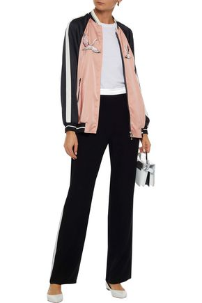 REDValentino Embroidered stretch-satin bomber jacket