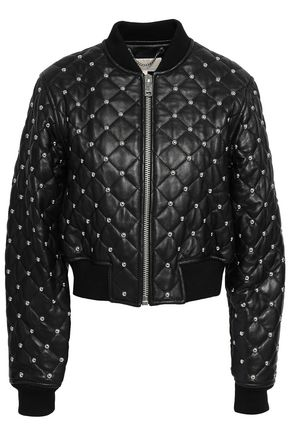 MICHAEL MICHAEL KORS Studded quilted leather bomber jacket