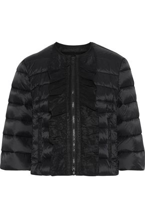 REDValentino Cropped ruffle-trimmed quilted shell down jacket