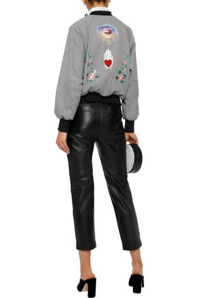 REDValentino Pussy-bow printed cotton-blend jersey bomber jacket