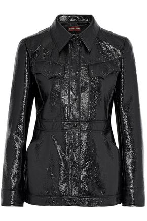 ALEXACHUNG Crinkled faux patent-leather jacket
