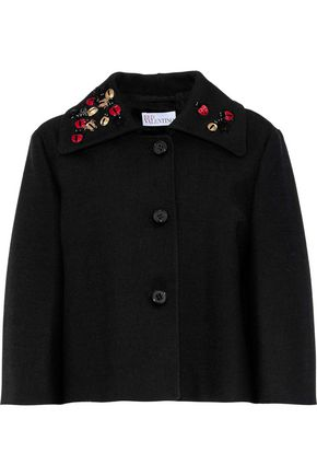 REDValentino Cropped embellished cotton-blend gabardine jacket