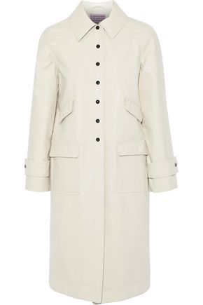 ALEXACHUNG Appliquéd crinkled faux leather coat