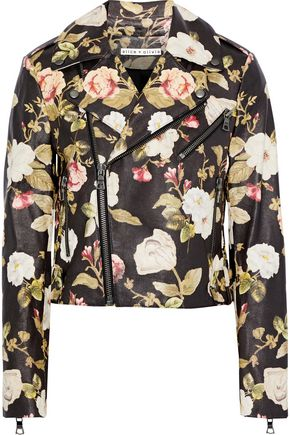 ALICE + OLIVIA Cody cropped floral-print leather biker jacket