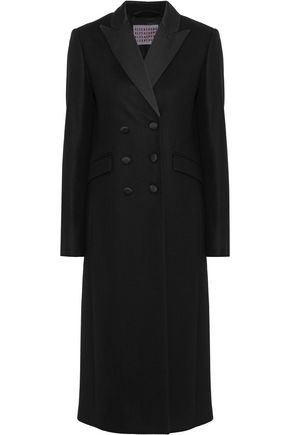 ALEXACHUNG Double-breasted satin-trimmed wool and cashmere-blend coat