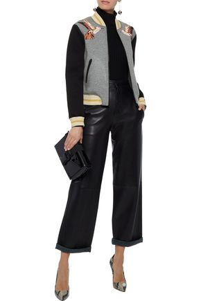 REDValentino Appliquéd two-tone cotton-jersey bomber jacket