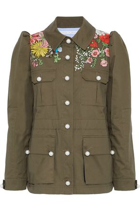VERONICA BEARD Huxley embroidered cotton-twill jacket