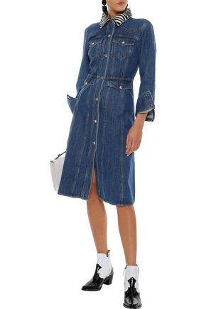 ALEXACHUNG Zebra-print calf hair-trimmed denim dress
