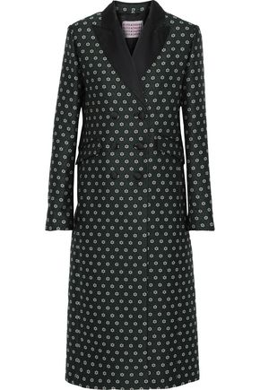ALEXACHUNG Double-breasted satin-trimmed floral-jacquard coat