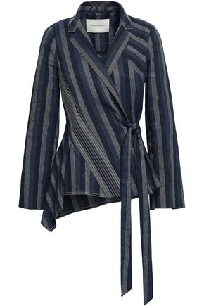 CAROLINA HERRERA Striped linen and cotton-blend woven jacket
