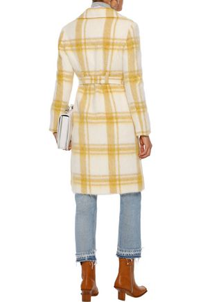 ALEXACHUNG Double-breasted checked wool-blend coat