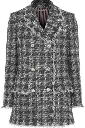 THOM BROWNE Double-breasted houdstooth wool-blend tweed blazer