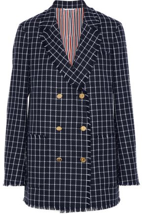 THOM BROWNE Double-breasted checked wool-crepe blazer