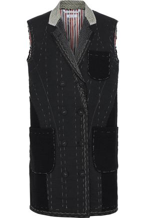 THOM BROWNE Double-breasted cotton-felt, bouclé-tweed and canvas gilet
