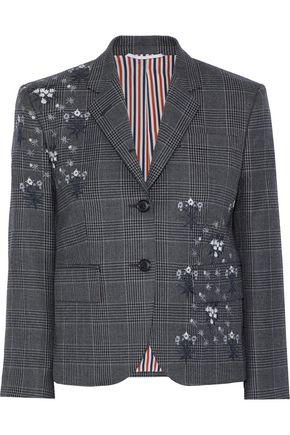 THOM BROWNE Embroidered Prince of Wales checked wool blazer