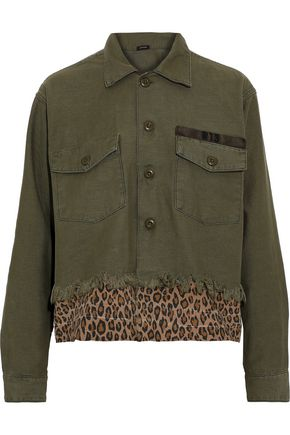 R13 Frayed leopard print-paneled cotton-canvas jacket