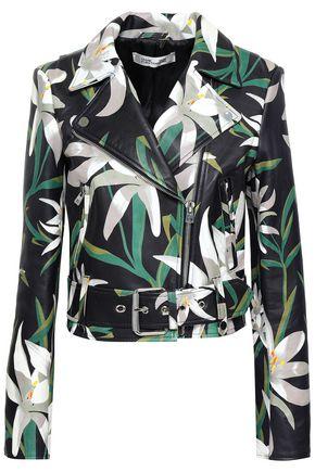 DIANE VON FURSTENBERG Floral-print leather biker jacket