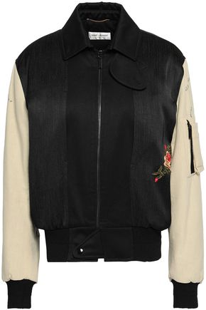 SAINT LAURENT Embroidered paneled cotton bomber jacket
