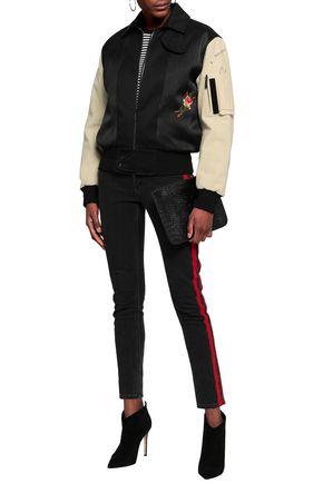 SAINT LAURENT Embroidered paneled cotton bomber jacket