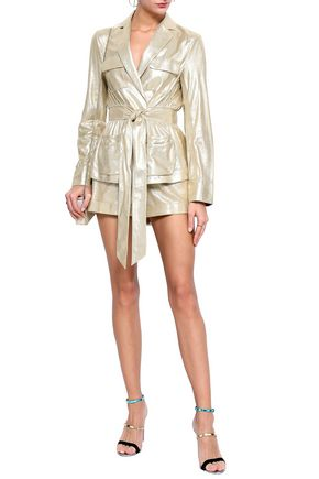 DIANE VON FURSTENBERG Hilda metallic leather jacket