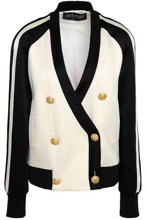 BALMAIN Double-breasted two-tone crepe-satin jacket