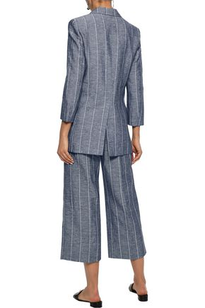 IRIS & INK Kinsley double-breasted pinstriped cotton and flax-blend blazer