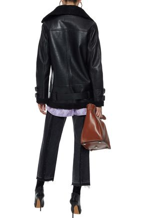 W118 by WALTER BAKER Adele faux shearling-trimmed leather jacket