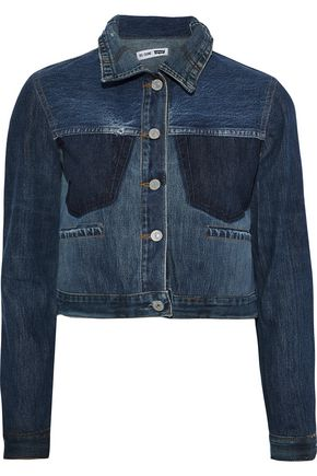 RE/DONE by LEVI'S Cropped distressed two-tone denim jacket
