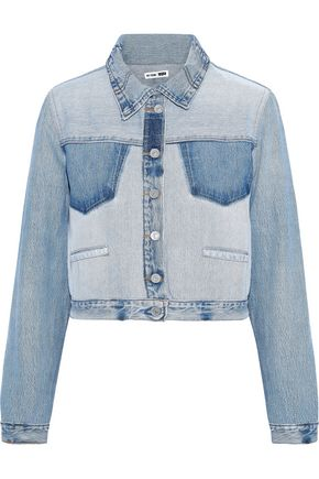 RE/DONE by LEVI'S Cropped faded denim jacket
