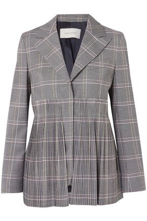 CEDRIC CHARLIER Pleated checked wool-blend blazer