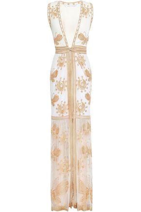 DIANE VON FURSTENBERG Embroidered tulle wrap dress