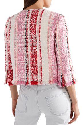 OSCAR DE LA RENTA Frayed striped bouclé-tweed jacket
