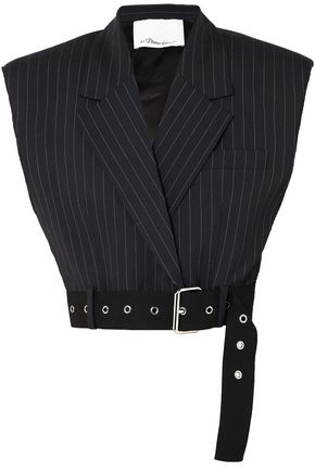 3.1 PHILLIP LIM Cropped pinstriped wool-blend top