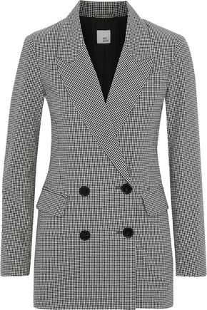 IRIS & INK Double-breasted gingham cotton blazer