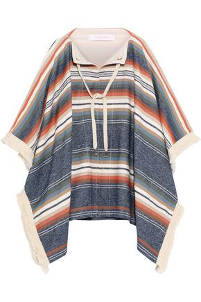 SEE BY CHLOÉ Fringe-trimmed striped canvas poncho