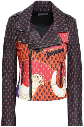 RED(V) Metallic-trimmed printed leather biker jacket