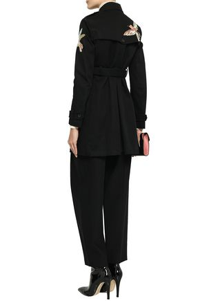 REDValentino Embroidered double-breasted cotton-gabardine coat