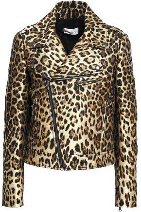 REDValentino Metallic leopard-print jacquard biker jacket