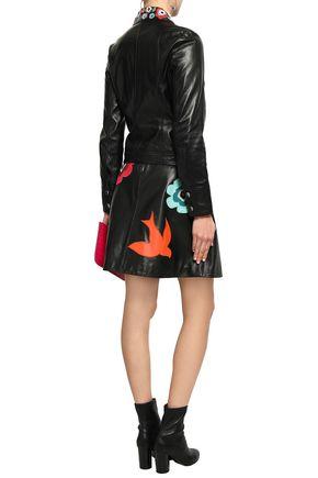 REDValentino Floral-appliquéd leather jacket